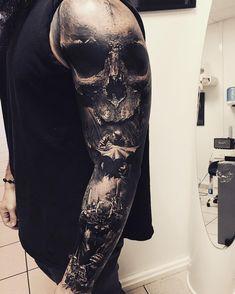 Tattoo Trends – Realistic Tattoo by Sandry Riffard… - Tattoo Designs Men Skull Sleeve Tattoos, 3d Tattoos, Unique Tattoos, Black Tattoos, Body Art Tattoos, Cool Tattoos, Amazing Tattoos, Tatoos, Totenkopf Tattoos