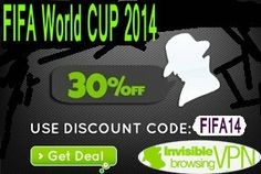 "For FIFA World Cup, ibVPN have prepared a promo code ""FIFA14″ to get any VPN or DNS package with 30% OFF (time limited offer). Invisible Browsing VPN provide ibDNS and ibVPN solution!  http://www.bestvpnserver.com/top-vpn-service-fifa-world-cup-promotions-2014/"