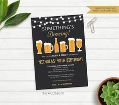 beer birthday invitation, cheers and beers, adult birthday invitation, birthday invitation for men, 30 years, 40 years, something's brewing by TinyConfetti