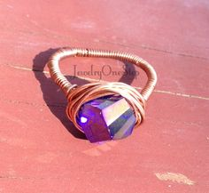 Purple crystal ring,wire wrap ring, copper wire,copper ring size 7.5,comfort band