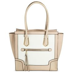 Women's Color Block Satchel Handbag Bone - Mossimo