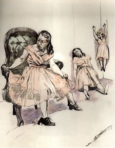 Paula Rego (Multiple figures of the same subject in the same space would be a good bridge between individual subject/sanity and multiple overlapping subject/madness.)