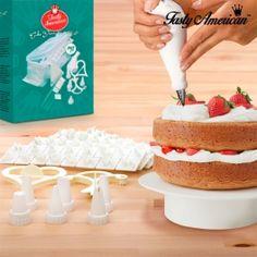 Kit de Decoração de Bolos Tasty American  (100 peças) Kit, Tapas, American Cake, Unusual Gifts, Homemade Cakes, Vanilla Cake, Herbalism, Cake Decorating, Cooking