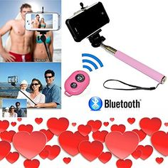Valentines Day Gift Special - Pink Selfie Stick - Bluetooth Remote Control - Travel Bag - iPhone 7 7 Plus SE 6S 6S Plus 6 6 Plus 5 5S 5C 4S 4 Samsung Galaxy S6 S5 S4 S3 S2 and more - DaVoice. COMBO PACK SPECIAL - Comes with extendable selfie stick pole, adjustable cell phone adapter, bluetooth remote! Only Davoice offers the DaVoice® namebrand, please be aware of which seller you are purchasing from. COMPATIBLE WITH MOST CELL PHONES - iOS 6.0 or newer (iPhone 7, 7 Plus, 6S, 6S Plus, 6, 6...