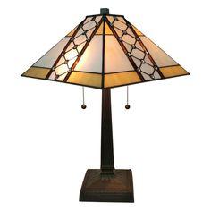 Amora Lighting AM237TL14 Mahogany 21-inch Tiffany-style Mission Jeweled Table Lamp