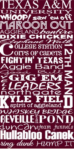 Texas A Aggie subway art by FlyOnTheWallink on Etsy, $45.00