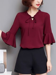 Buy Tie Collar Plain Bell Sleeve Blouse online with cheap prices and discover fashion Blouses at cielo Bell Sleeve Blouse, Bell Sleeves, Blouse Styles, Blouse Designs, Essentiels Mode, Bluse Outfit, Sleeves Designs For Dresses, Sleeve Dresses, Sewing Blouses