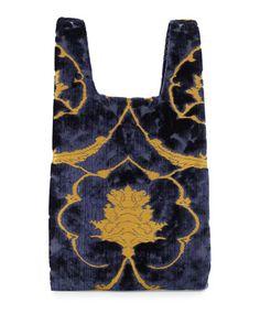 L0PR2 Hayward Hayward Brocade Velvet Shopper Tote Bag, Navy/Gold