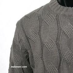 Мужской свитер спицами с красивой косой