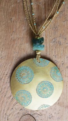 Boho Tribal ethnic jewelry necklace amulet ancient roman glass seed beads brass mandala primitive