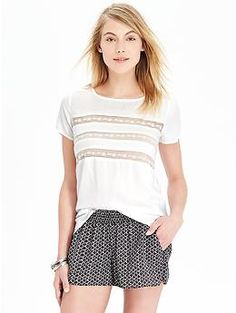 Womens Mesh-Trim Tops