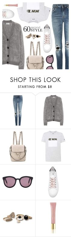 """""""Casual look"""" by dressedbyrose ❤ liked on Polyvore featuring Yves Saint Laurent, Acne Studios, Chloé, Champion, Gentle Monster, Steve Madden, AERIN, casual, ootd and polyvoreeditorial"""
