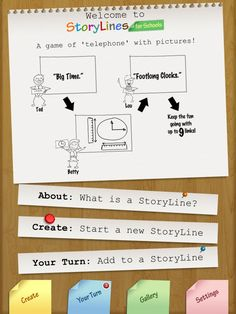 Story Lines is the old fashion game of 'telephone' that has been appified with a pictionary twist to it.  Someone selects the word or phrase and then passes the iPad to the next player who in turn has to draw the phrase, they then pass it on to the next player who has to label it.