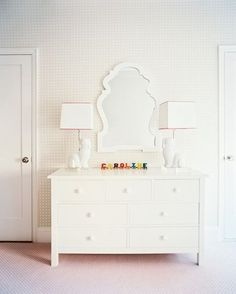 Pretty white dresser and lamps.  #HomeOwnerBuff