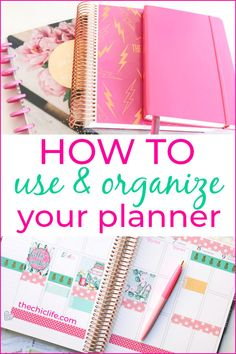 Learn How to Use and Organize Your Planner in style! Easy tips for all levels. Get organized the fun way. Ideas for every planner, from Erin Condren LifePlanners to Bullet Journals. Study Planner, Planner Tips, Planner Supplies, Planner Pages, Printable Planner, Happy Planner, Planner Stickers, How To Use Planner, Mom Planner