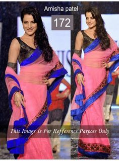 ShoppingOye:   Ameesha Patel Net Pink Multi Embroidered Bollywo...