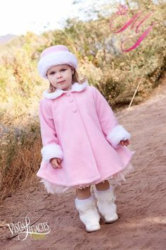 Super Cute Fleece Coat, with Top Quality Faux Fur Trim, fully lined, with matching hat.