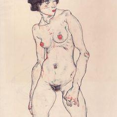 Standing nude with stockings, 1914 #art #womeninart #egonschiele #schiele #egonschieleswomen