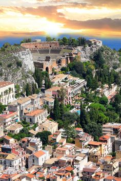 Taormina and the Greek theater, Sicily, Italy