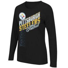 12e140fa8 Pittsburgh Steelers Ladies Jazzed Up II Long Sleeve T-Shirt - Black