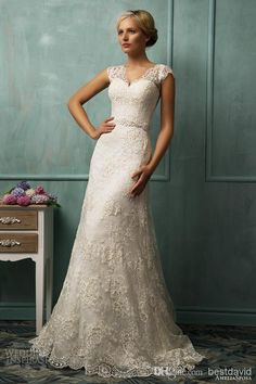 Illusion bridal gowns | Wholesale - Sheer Straps Lace Cap Sleeve Wedding Dresses Illusion Back ...
