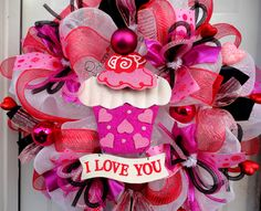 ONLY ONE LEFT  Valentines Deco Mesh Wreath  I by SparkleWithStyle, $109.00