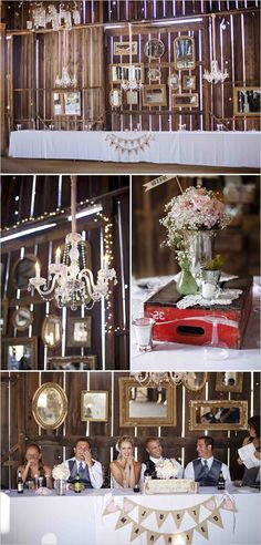 bridal party table - we can go vintage shopping at antiques stores for this