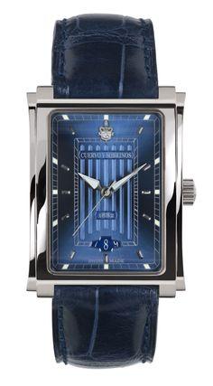 Cuervo y Sobrinos 1015.1BS Men's Watch Prominente Clasico Steel Blue Soleil Swiss Made
