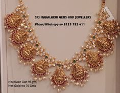 Your necklace should be the best necklace. Presenting here is nakshi work Lakshmi necklace. Visit for the best. Contact no 8125 782 411 . Gold Jhumka Earrings, Gold Jewelry Simple, Trendy Jewelry, Gold Jewellery Design, Antique Jewellery, Jewelry Patterns, Bridal Jewelry, Pearl Jewelry, Beaded Jewelry