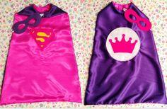 Superhero Cape Supergirl/Princess Reversible Girl's Super Hero Cape with Reversible Mask, Children's Apparel or Costume on Etsy, $35.00
