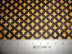 Fleur d' lis Flower fabric cotton Fabric Quilt Quilting black & gold N.O. Saints and Mardi Gras Too via Etsy