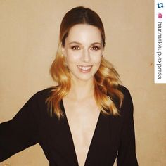 """""""Thank you @anateinat @hair.makeup.express  for the look and thank you @hilahazanstyle & Adi zukerman for the style!!!"""" Alona Tal, Celebs, V Neck, Instagram Posts, Supernatural, Crushes, Hair Makeup, Sci Fi, Fantasy"""