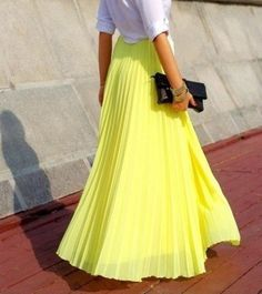 df554280379 yellow maxi skirt - Love the tight pleats and love the color