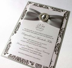 Embellished Paperie: Anniversary Invitations, Silver and White Damask . Embellished Paperie: Anniversary Invitations, Silver and White Make Your Own Wedding Invitations, Silver Wedding Invitations, Elegant Invitations, Wedding Invitation Templates, Wedding Cards, Invitation Ideas, Invitation Cards, Damask Wedding, Quinceanera Invitations