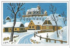 """Tichá noc (""""Silent night"""", illustration by the Czech painter and writer Josef Lada. Winter Love, Winter Theme, O Holy Night, Naive Art, Christmas Traditions, Vintage Christmas, Illustrators, Folk Art, Silhouettes"""