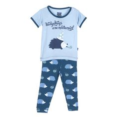 KicKee Pants Short Sleeve Pajama Set Boys, Peacock Hedgehog