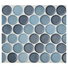 "Complete Tile Collection Penny Round Mosaic - Cerulean Blend - Anti-slip Matte, 1"" Round Glazed Porcelain Penny Mosaic Tile, Anti-Microbial, Anti-Odor, Anti-Staining Technology, MI#: 063-Z1-250-023"