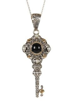 Phillip Gavriel Two-Tone Filigree Onyx and Pearl Key Pendant Necklace by Phillip Gavriel on @HauteLook