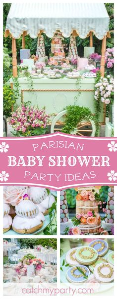 Take a look at this stunning Parisian Laduree Baby Shower. The cake is incredible!!! See more party ideas and share yours at CatchMyParty.com