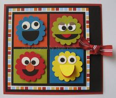 Sesame Street Punch Art Card featuring Cookie Monster, Oscar, Elmo, and Big Bird