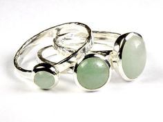 Stacking Ring with a genuine Myanmar Pale Green Jade (Jadeite) Cabochon set in Sterling Silver US # 7 1/4 EU # 55