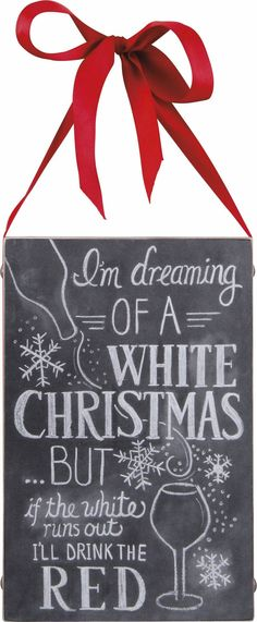 """This decorative chalk sign is a perfect Christmas decoration for any wine lover SIZE: 6.50"""" x 10 Wood, Paper Weight: 12 oz"""