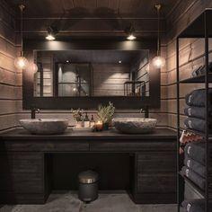 Bathroom Wall Decor, Bathroom Interior Design, Luxury Modern Homes, A Frame House, Rustic Bathrooms, Cabin Interiors, Wooden House, Scandinavian Home, Log Homes