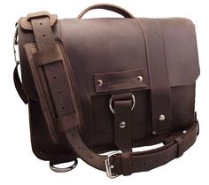 "15"" Laptop Journeyman Messenger bag - Brown - 100% Full Grain Leather - Handmade in the U.S.A. - Water Resistant - iPad Pocket"