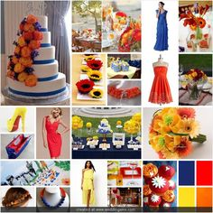 blue, red, yellow, and orange wedding bright complimentary colors