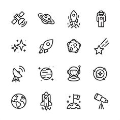 16 line black on white icons / Set Pixel Perfect Principle - all the. Space Drawings, Mini Drawings, Cute Easy Drawings, Doodle Drawings, Mini Tattoos, Cute Tattoos, Small Tattoos, Simple Doodles, Cute Doodles