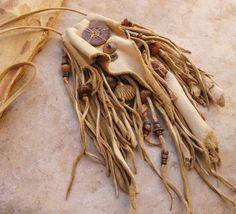 Natural Tan Deer Hide Fringed Medicine Bag or by DesertTalismans