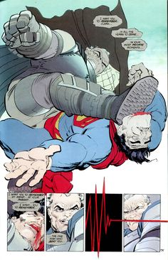 Superman takes it on the chin in Batman: The Dark Knight Returns.