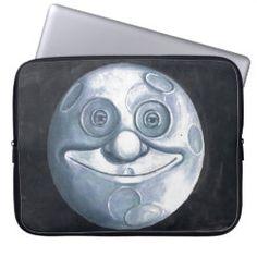 Laptop Case WHIMSICAL MOON Laptop Shop, Laptop Case, Neoprene Laptop Sleeve, Laptop Sleeves, Moon Under Water, Custom Laptop, Sticker Shop, Smile Face, Blue Moon
