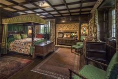 The magnificent Athelhampton House in Dorset is a manor with spectacular Tudor interiors, formal gardens and a fascinating history. Tudor House, Maison Tudor, Oak Front Door, Timber Ceiling, River Cottage, Oak Panels, Large Bedroom, Old Houses, Manor Houses
